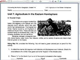 agriculture in the eastern hemisphere 7th grade worksheet lesson