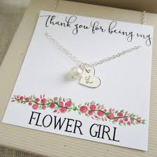 wedding gift card message personalized flower girl gift flower girl necklace with message