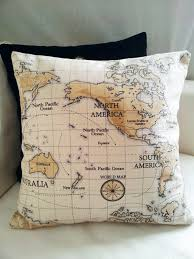 decor world map pillow cushion cover for sofa or couch