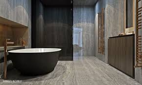 River Rock Bathroom Ideas Natural Stone Bathroom Floor Vertical Mirror Mix Classic Wood