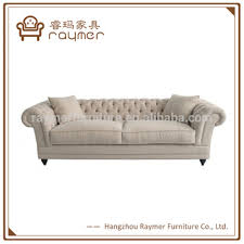 Linen Chesterfield Sofa Classic Living Room Tufted Linen Fabric Chesterfield Sofa