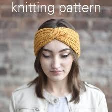 knitted headband pattern knitting pattern twisted turban headwrap mustard yellow knit