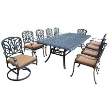 Oakland Living Mississippi Cast Aluminum Hanover Monaco 5 Piece Aluminum Round Outdoor Dining Set With Tile