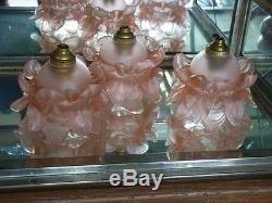 antique vintage french lot of 3 pink petals lamp chandelier shades