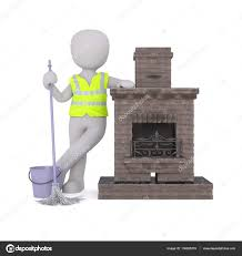 chimney sweep leaning against fireplace u2014 stock photo 136655378