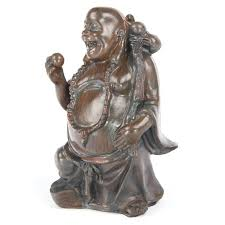 laughing buddha ornament height 9 10cm buddhist statue wood effect