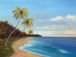 tropical beach original oil 18 x 24
