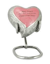 baby urn baby pink fleur de lis keepsake heart brass cremation urn