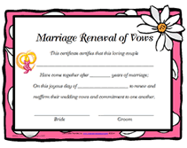 free printable renewal of wedding vows certificates templates