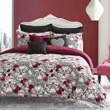 overstock girls bedding betsey johnson rock out comforter set reverses to lace skull print