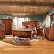 rustic chic bedroom light brown solid wood bed design white low