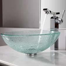 bathroom sink ideas glass washbasin stainlees steel faucet white granite countertop
