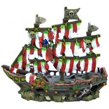 penn plax penn plax striped shipwreck decoration set medium