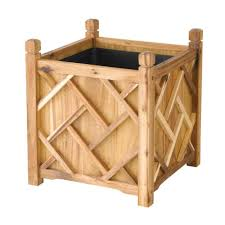dmc chippendale 18 in square natural wood planter 70209 the