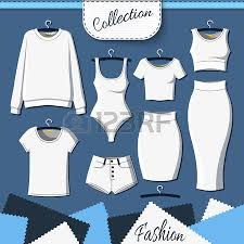 set of white clothes to create design on background