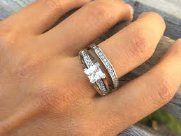 stainless steel wedding ring sets princess cut 1 carat cz stainless steel wedding ring set