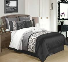 King Linen Comforter 9 Piece King Cambridge Black Charcoal White Comforter Set