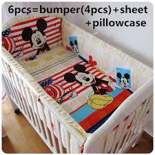Mickey Mouse Toddler Duvet Set Promotion 6 7pcs Mickey Mouse Baby Bedding Set Curtain Crib