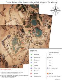 Map Of The Northwest Conan Exiles Northwest Village Set Village Thrall Map