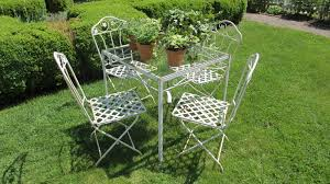wrought iron chairs patio vintage salterini wrought iron folding chairs and square table