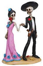 dod skeleton gothic halloween wedding cake topper day of the dead