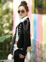 black double breasted jacket fringe chain link polyester women u0027s