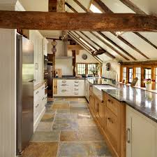 Two Tone Kitchen Kitchen Rustic Two Tone Kitchen Cabinets With Ceiling Beams And