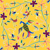Design House Skyline Yellow Motif Wallpaper Otomi Fabric Wallpaper U0026 Gift Wrap Spoonflower