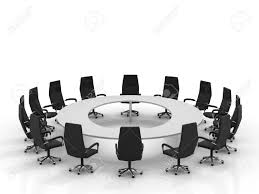 furniture conference round table and chairs isolated on