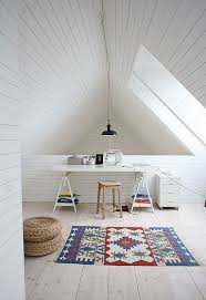 White Wood Ceiling by 30 Cozy Attic Home Office Design Ideas