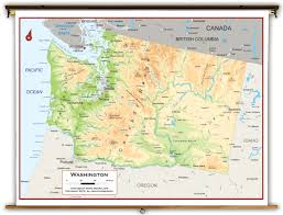 Washington State Map Outline by Washington State Physical Classroom Map From Academia Maps
