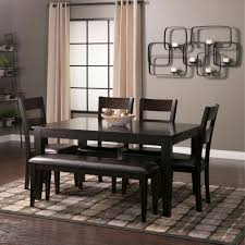 Espresso Dining Room Set by Mango Wood Dining Table Set 6 Piece Dinette Set With Bench