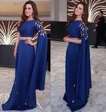 beaded indian gowns open sleeve royal blue one shoulder sleeves