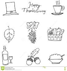 thanksgiving flat draw fruit in doodle stock vector image