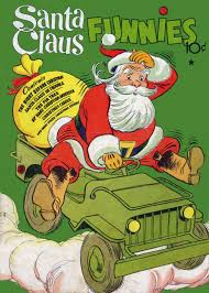 jeep christmas stocking santa jeep vintage 1940s christmas dell comic book cover