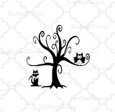 owl in spooky tree svg and png format for cricut and silhouette