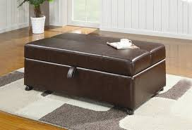 Rolling Ottoman Brown Vinyl Ottoman With Sleeper By Coaster 500750