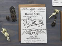 letterpress wedding invitation vintage antique art deco