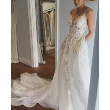 spaghetti wedding dress a line spaghetti straps court wedding dress with appliques