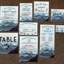 mountain wedding invitations painted mountain watercolor wedding invitation for