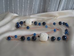 long blue necklace images Long blue and white hard stone necklace bracciali collane jpg