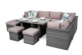 Dining Sofa Manchester 10pc Modular Rattan Sofa Dining Corner Sofa Set Natural