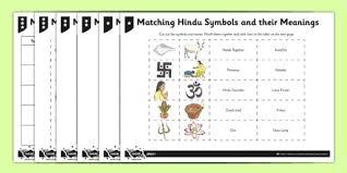 hinduism activity sheet matching hindu symbols and their