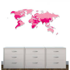 pink world map decals for baby girls room realistic wall stickers for kids bedrooms world map decals for children