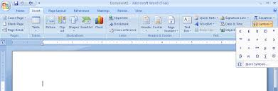 how to insert mathematical equations and symbols in ms word 2007 insert recently used symbols and special characters