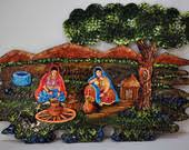 mural on wood items similar to pottery 3d mural on wood