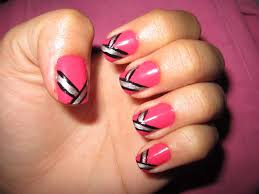 pink nail art design ideas with colorful glitter swirls ornament