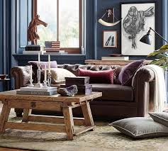 Living Room Leather Furniture Chesterfield Leather Sofa Pottery Barn