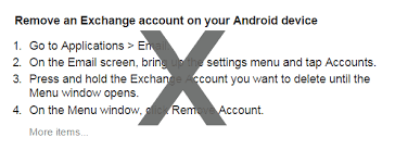 how to remove account from android how to remove an exchange account from android