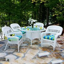 Steel Patio Furniture Sets - shop tortuga outdoor portside 5 piece coastal white glass patio